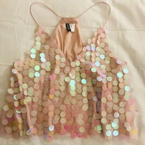 Light pink sequin crop top
